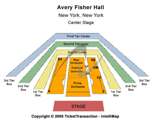 Avery Fisher Hall at Lincoln Center Seating Map