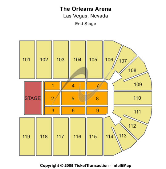 Orleans Arena - The Orleans Hotel Seating Map