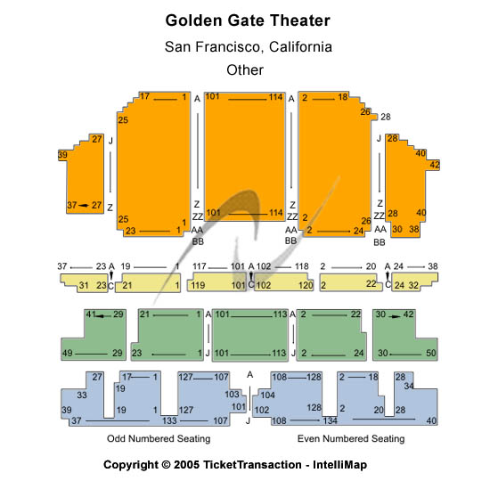 Golden Gate Theatre Seating Map