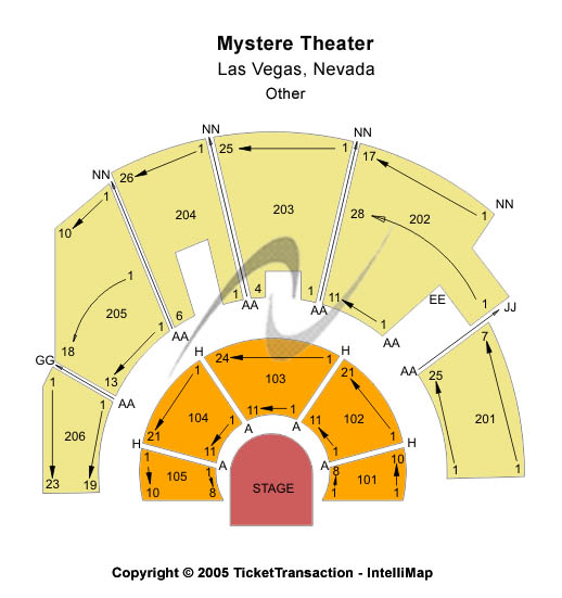 Mystere Theatre Seating Chart