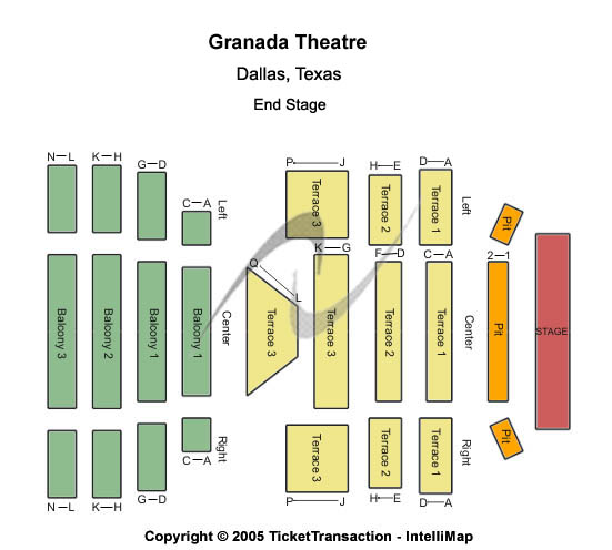 Granada Theater-tx Seating Map