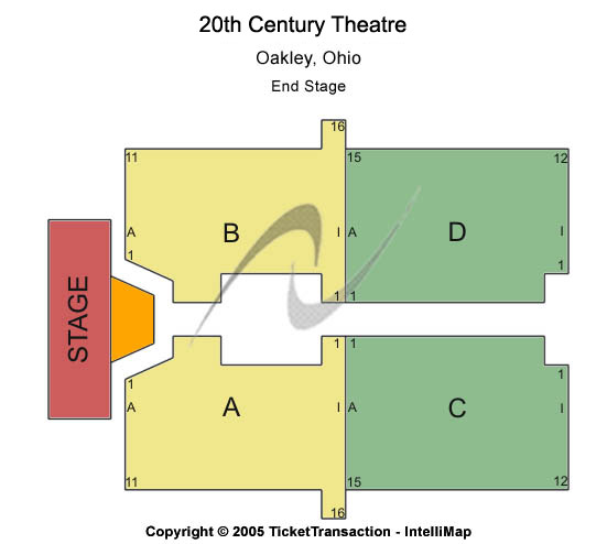 20th Century Theatre Seating Map
