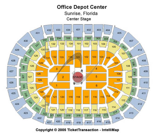 BB&T Center (Formerly BankAtlantic Center) Seating Chart: Center Stage