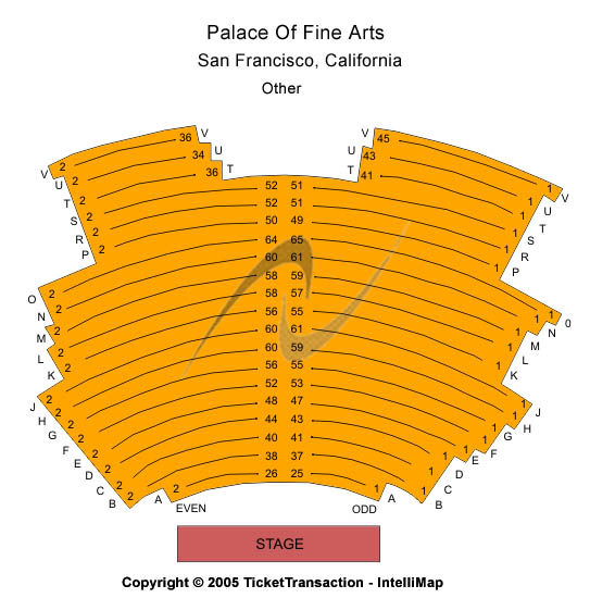 Palace Of Fine Arts Seating Map