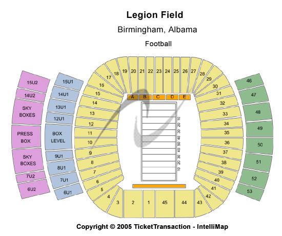 Legion Field Stadium Seating Map