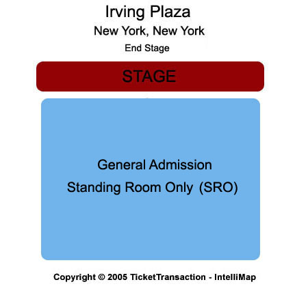 The Fillmore At Irving Plaza - New York City Seating Map