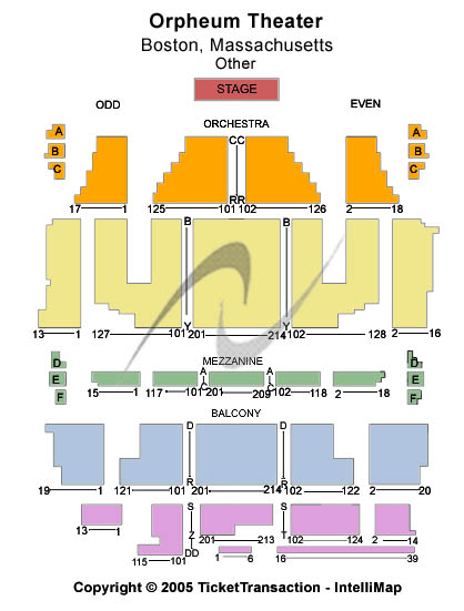 Orpheum Theatre-ma Seating Map