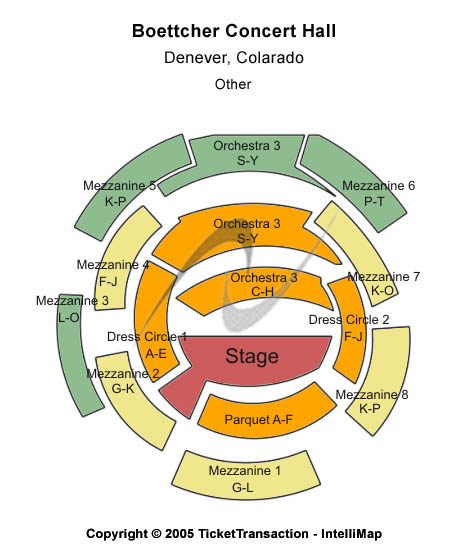 Boettcher Concert Hall Seating Map