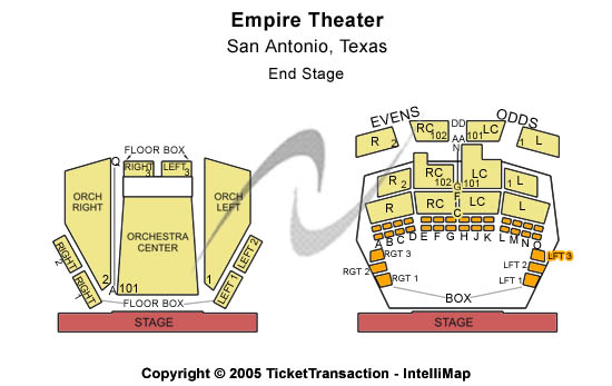 Empire Theatre Seating Map