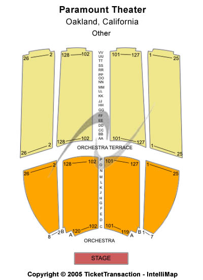 Paramount Theatre-ca Seating Map
