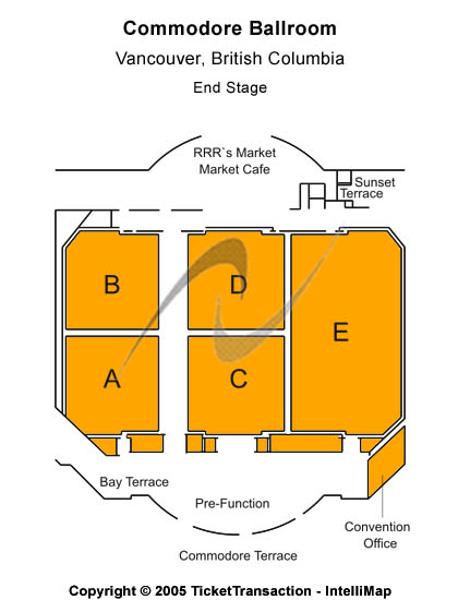 Commodore Ballroom Seating Map