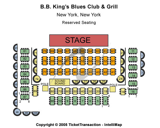 B. B. King Blues Club & Grill Seating Chart