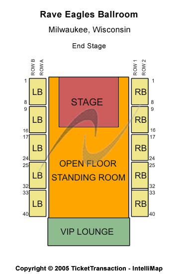 Rave / Eagles Ballroom Seating Map