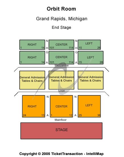 Orbit Room Seating Chart