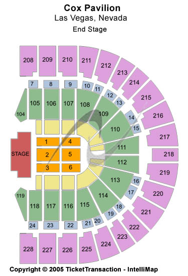 Cox Pavilion Seating Chart