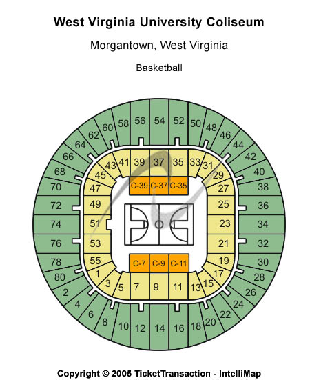 West Virginia University Coliseum Seating Map
