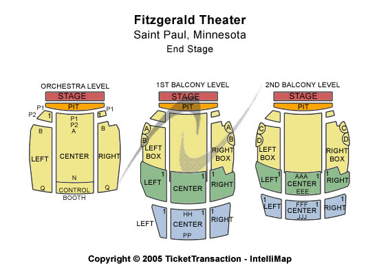 Fitzgerald Theater Seating Map