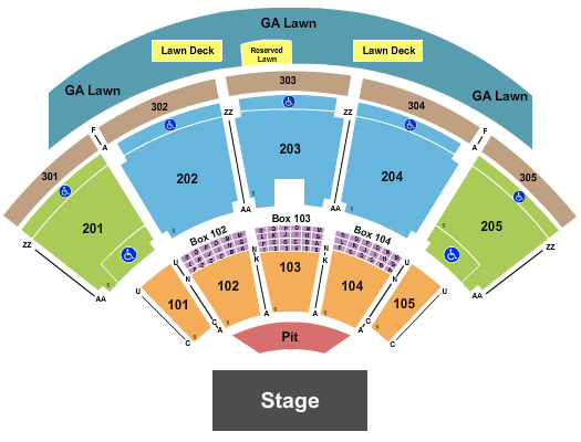 Ak-Chin Pavilion Seating Chart: Endstage Pit - Res Lawn