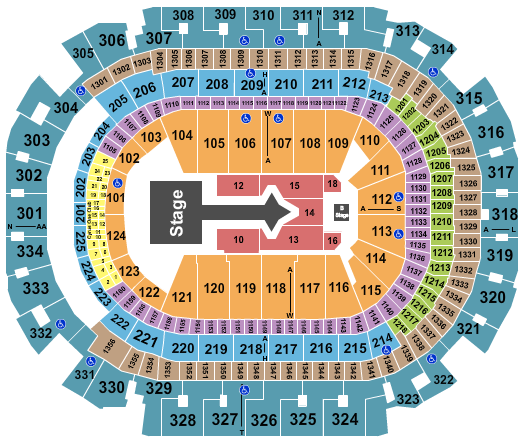 American Airlines Center Seating Chart: Justin Bieber