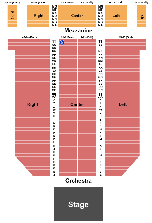 Arlington Theatre Seating Chart