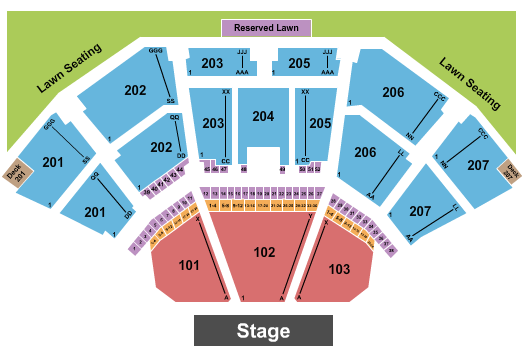 Cellairis Amphitheatre at Lakewood Seating Chart: Endstage - Reserved Lawn
