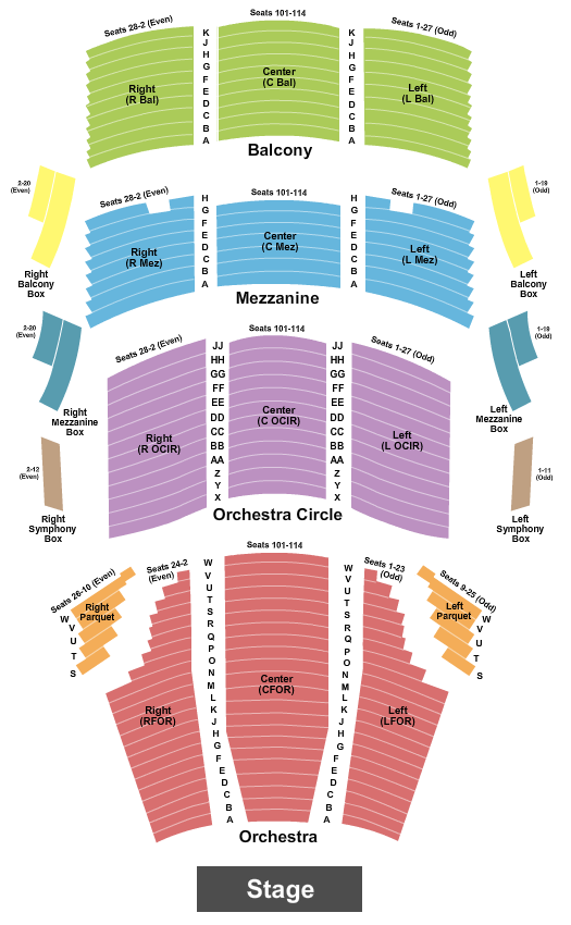 Cofrin Family Hall At Weidner Center For The Performing Arts Seating Chart: End Stage