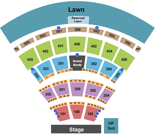 Darien Lake Amphitheater Seating Chart: End Stage