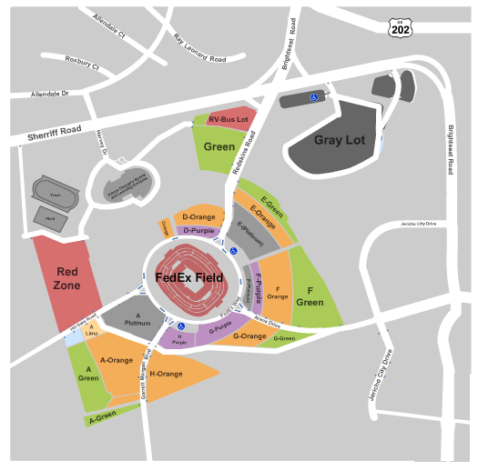 FedexField Parking Lots Seating Chart