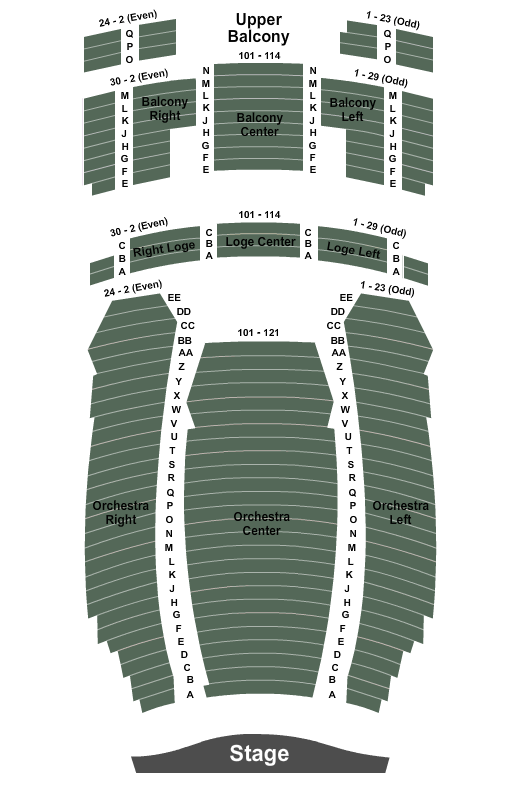 Hackensack Meridian Health Theatre at the Count Basie Center for the Arts Seating Chart: Endstage 2