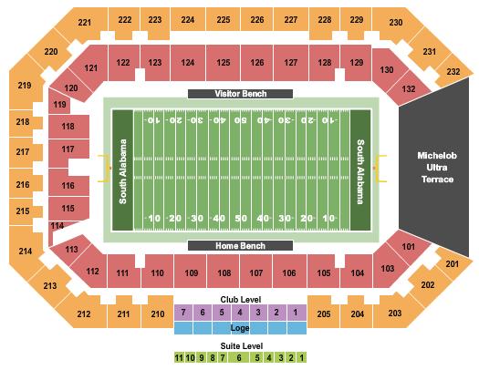 Hancock Whitney Stadium Seating Chart: Football 2