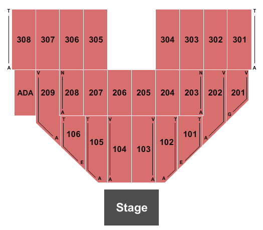 Hollywood Casino at Penn National Race Course Seating Chart: End Stage