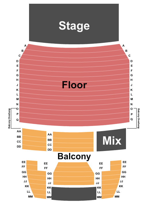 Kimball Recital Hall at Lied Center For The Performing Arts Seating Chart: End Stage