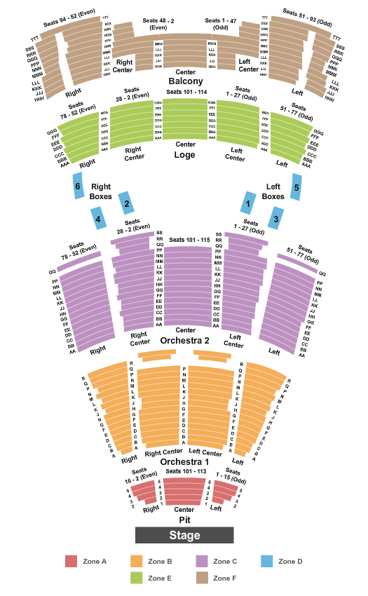 Moran Theater at Times Union Ctr Perf Arts Seating Chart: Endstage Pit Int Zone