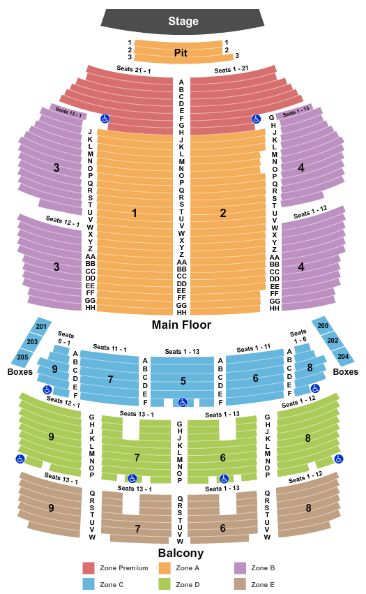 Orpheum Theatre - Minneapolis Seating Chart: End Stage Zone