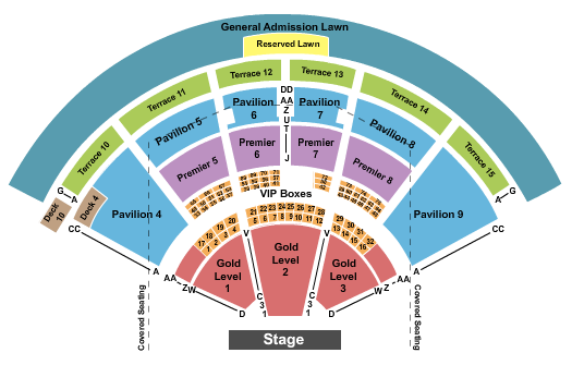 PNC Music Pavilion Seating Chart