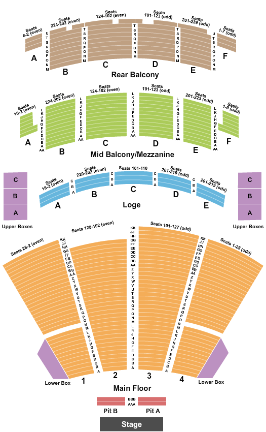 Palace Theatre Columbus Seating Chart: End Stage