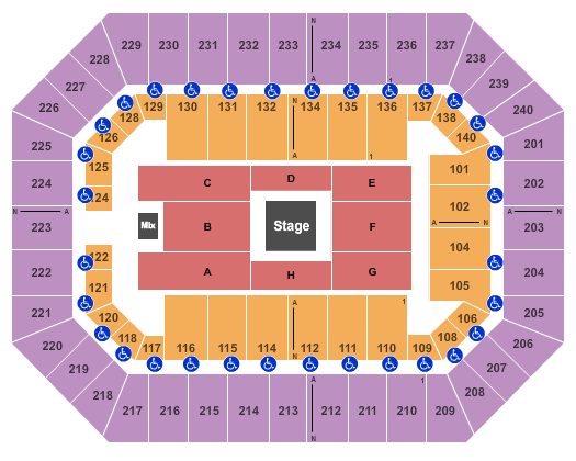 Raising Cane's River Center Arena Seating Chart