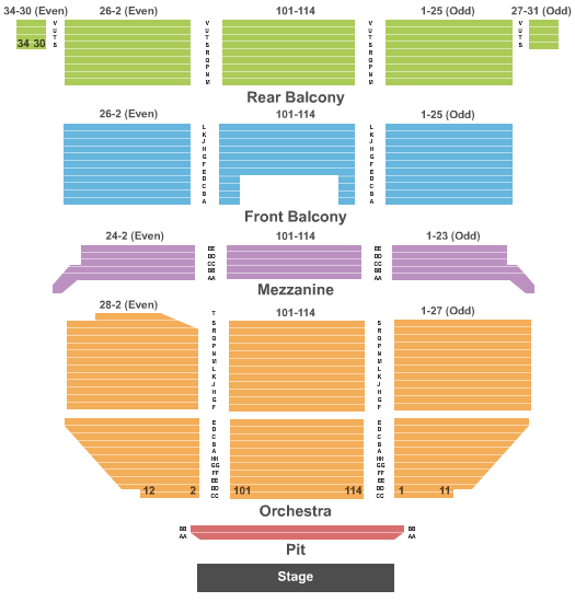 Saban Theatre Seating Chart