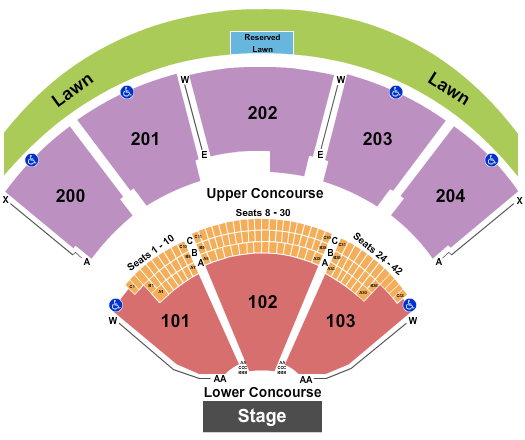 Shoreline Amphitheatre - CA Seating Chart: End Stage