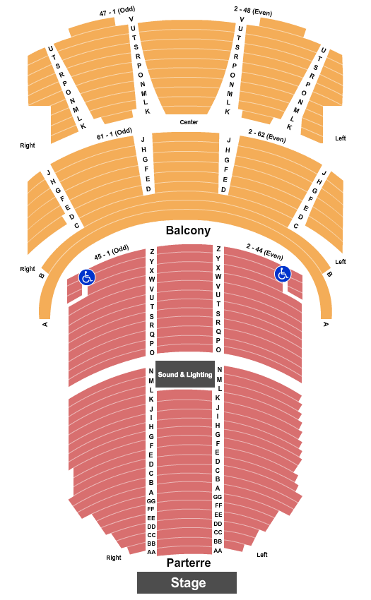 St. Denis Theatre - Hall 1 Seating Chart: End Stage