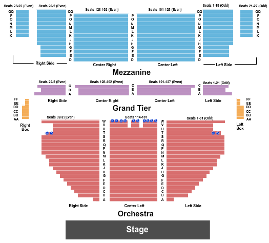 Stamford Center For The Arts - Palace Theatre Seating Chart: Endstage