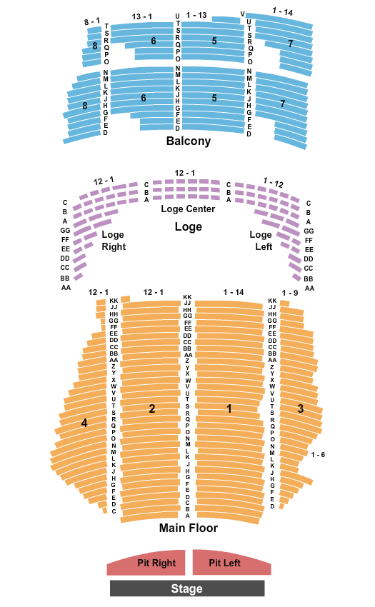 State Theatre - MN Seating Chart: Endstage w/ Pit