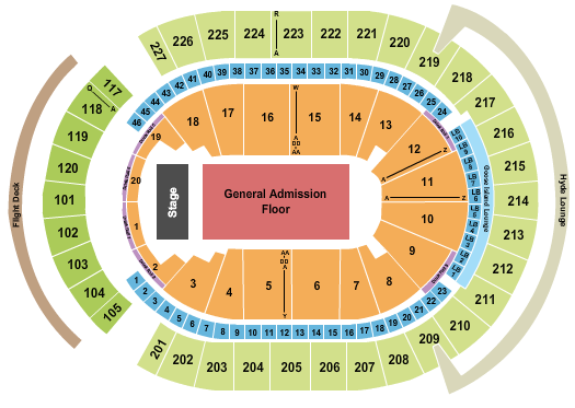 T-Mobile Arena Seating Chart: End Stage GA