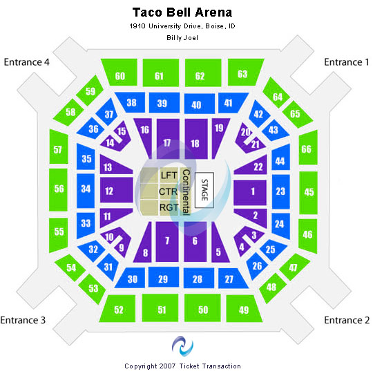 Taco Bell Arena Seating Map