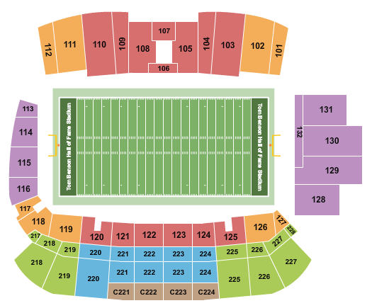 Tom Benson Hall of Fame Stadium Seating Chart