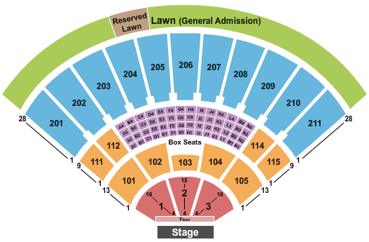 Toyota Amphitheatre Seating Chart