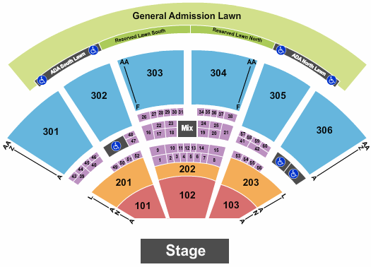 USANA Amphitheatre Seating Chart: End Stage