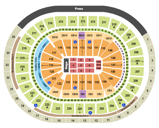 Wells Fargo Center - PA Seating Chart: End Stage