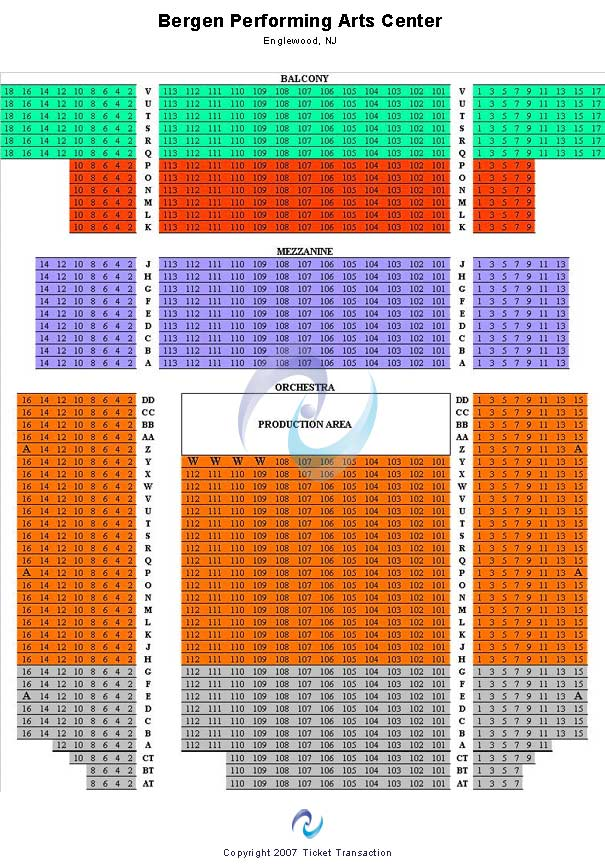 Bergen Performing Arts Center Seating Chart