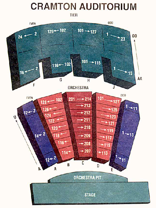 Cramton Auditorium Seating Map